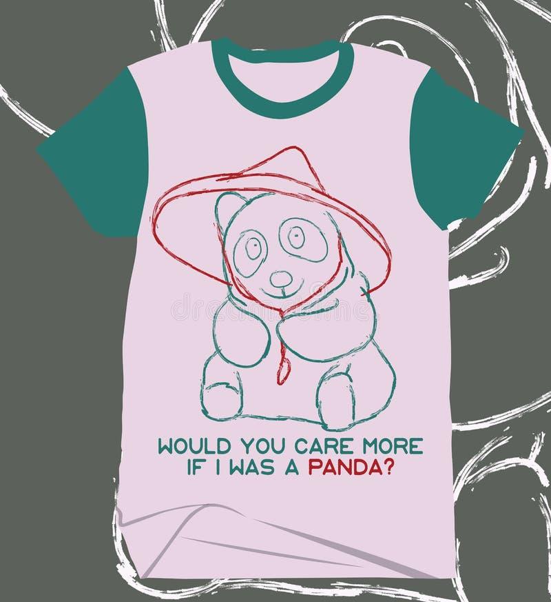 Una camisa linda única de la imagen de la panda del creyón del viejo estilo rasguña fotos de archivo