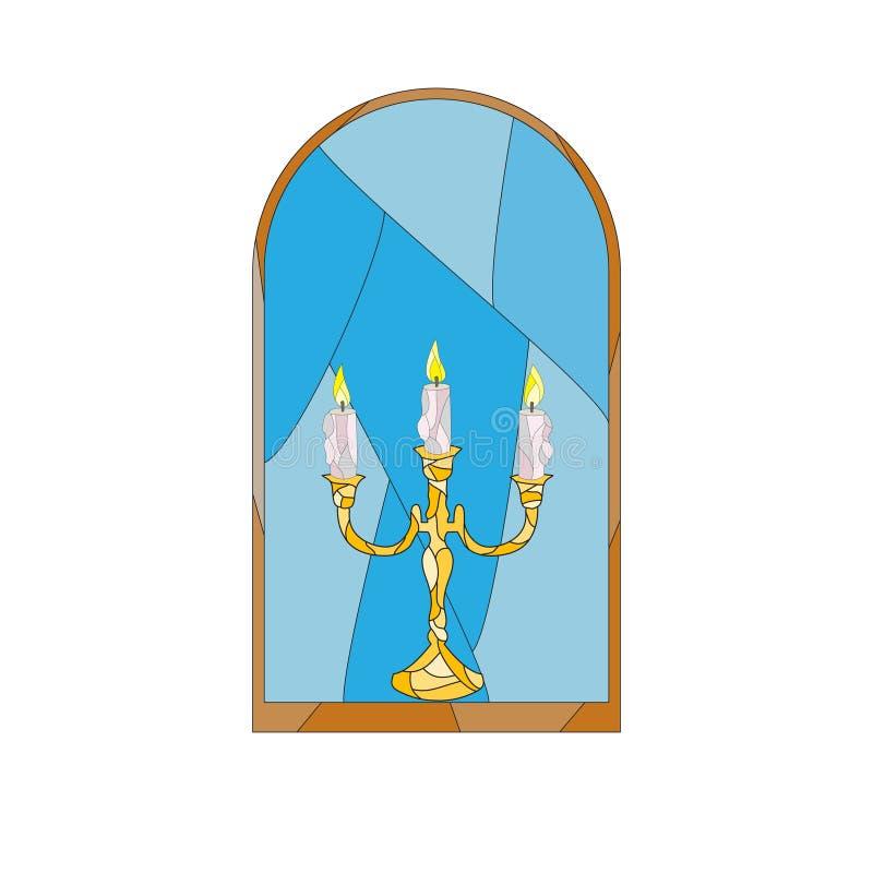 Una candela nella finestra fotografie stock libere da diritti