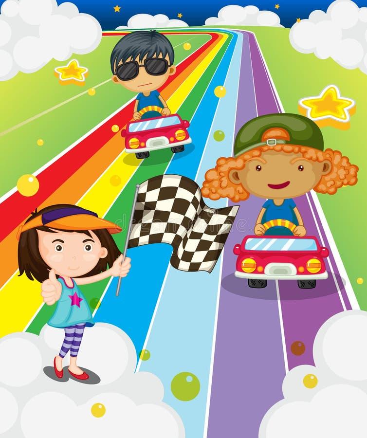Una carrera de coches en el camino colorido stock de ilustración