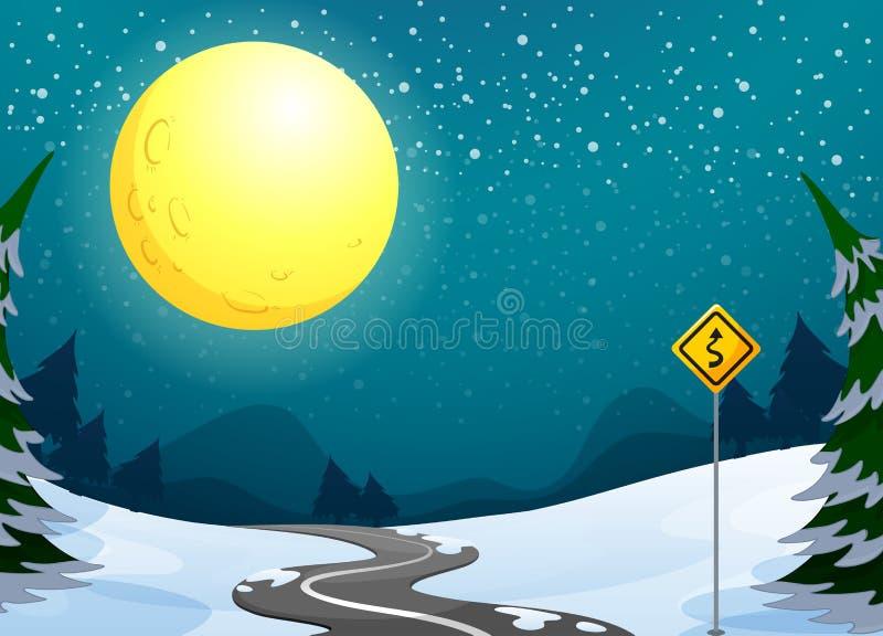Una carretera con curvas larga debajo de la Luna Llena brillante stock de ilustración