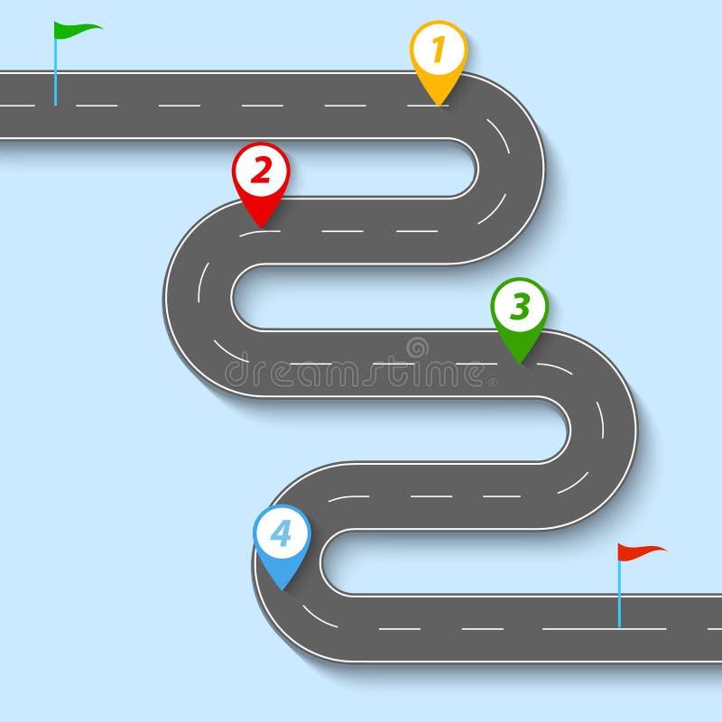 Una carretera con curvas con las señales de tráfico y las banderas ilustración del vector