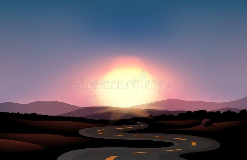 Una carretera con curvas y la puesta del sol ilustración del vector