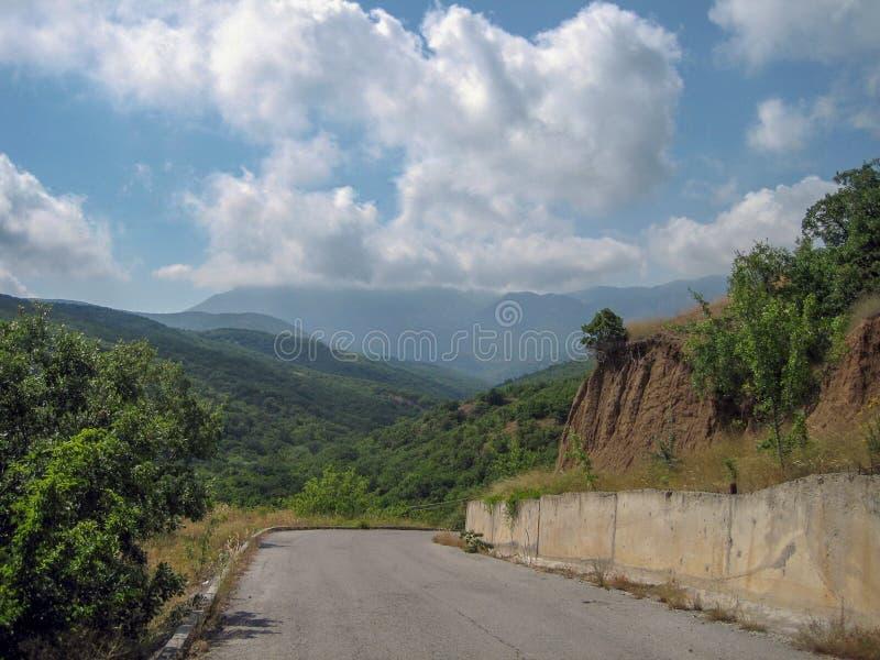 Una carretera de asfalto estrecha en un día soleado caliente más allá de árboles imperecederos y de la hierba sol-chamuscada foto de archivo