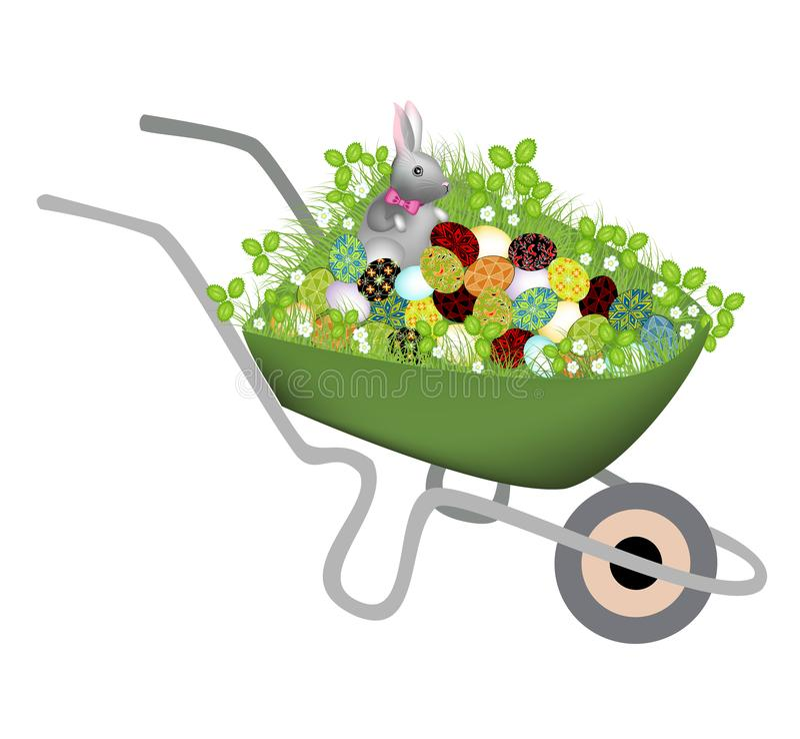 Una carriola con l'erba della molla Ha un coniglio grigio grigio ed ha dipinto le uova di Pasqua Il simbolo di Pasqua nella cultu royalty illustrazione gratis