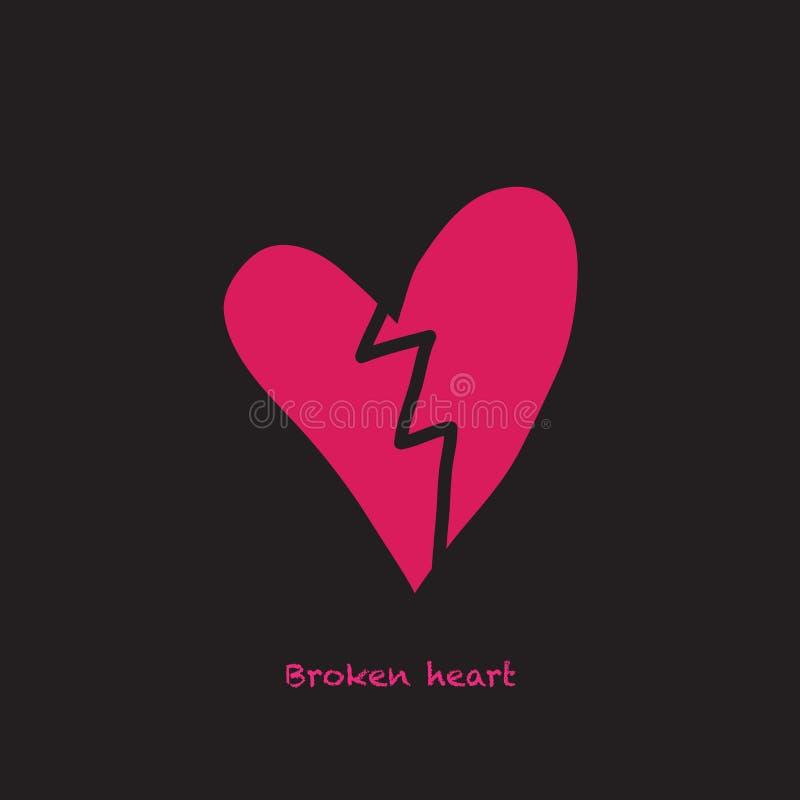 Una carta con un cuore rotto e un testo illustrazione di stock