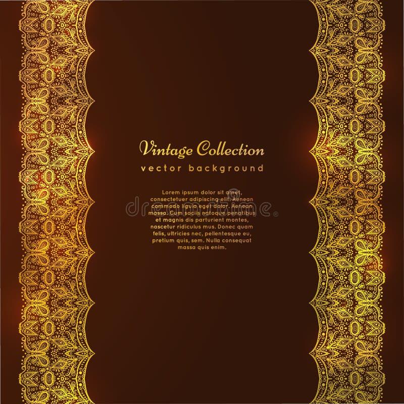 Una carta d'annata di lusso di vettore Invito con i bei ornamenti dorati, struttura del confine del pizzo Modello reale dell'oro royalty illustrazione gratis