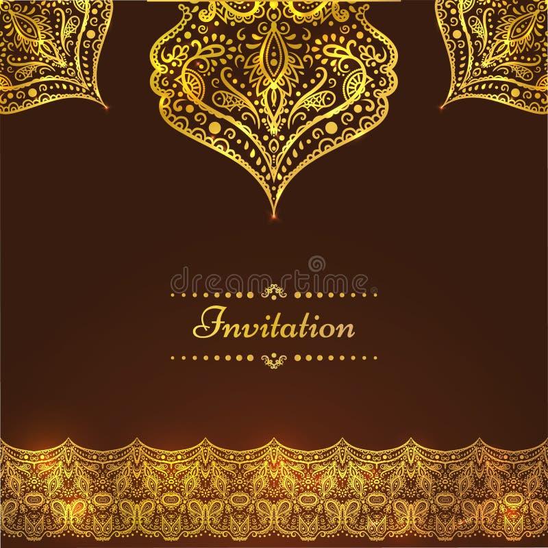 Una carta d'annata di lusso di vettore Invito con i bei ornamenti dorati, struttura del damasco, confine Modello reale dell'oro illustrazione vettoriale