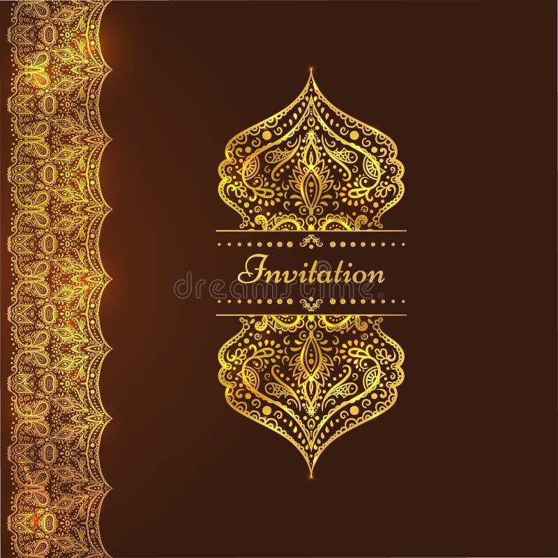Una carta d'annata di lusso Invito con i bei ornamenti dorati, struttura del damasco, confine Modello reale dell'oro royalty illustrazione gratis