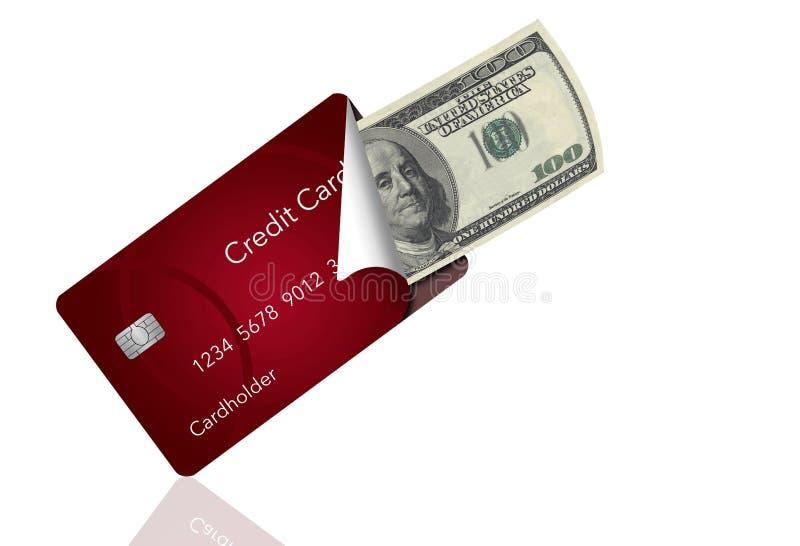 Una carta di credito è sbucciata indietro per rivelare cento banconote in dollari dentro Ciò illustra il trasporto della carta in illustrazione vettoriale