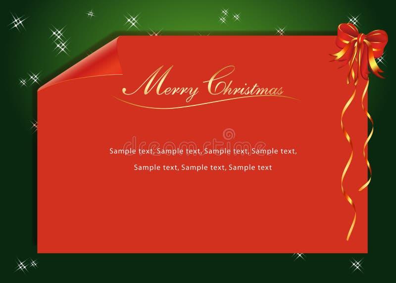 Una carta roja de la Navidad stock de ilustración