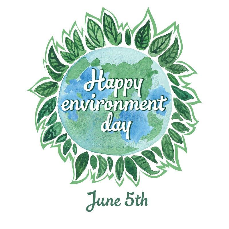 Una cartolina dell'acquerello alla Giornata mondiale dell'ambiente il 5 giugno immagine stock libera da diritti