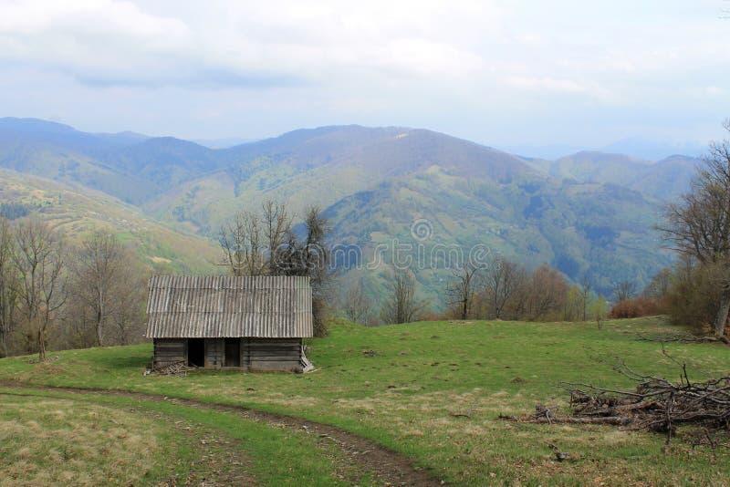 Una casa abbandonata su una collina carpatica fotografia stock