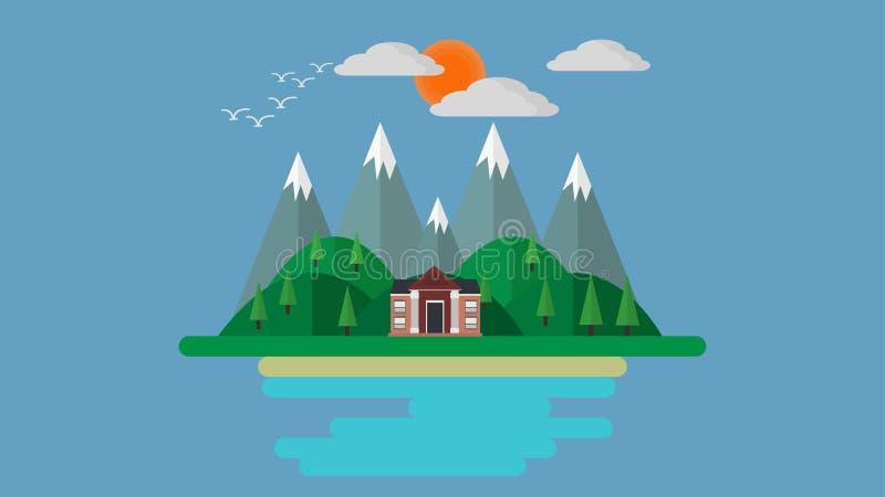 Una casa adyacente al río y a las montañas libre illustration