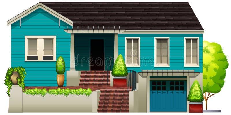 Una casa azul stock de ilustración