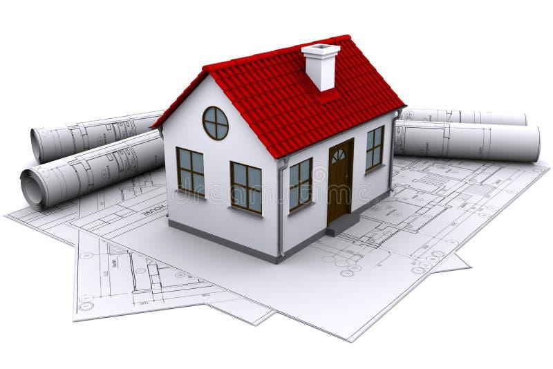 Una casa bianca sulle illustrazioni della costruzione illustrazione vettoriale