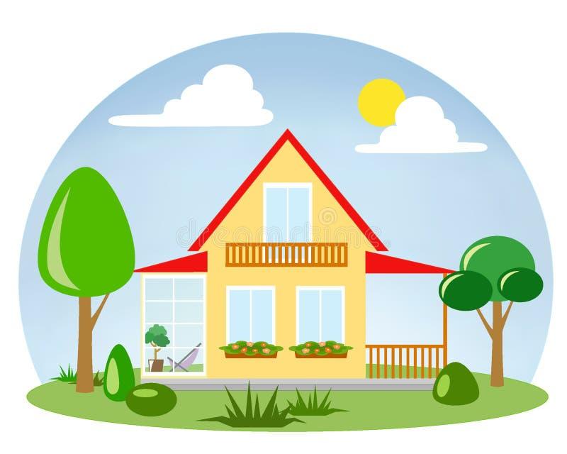 Una casa con un terrazzo con pareti vetrate illustrazione vettoriale