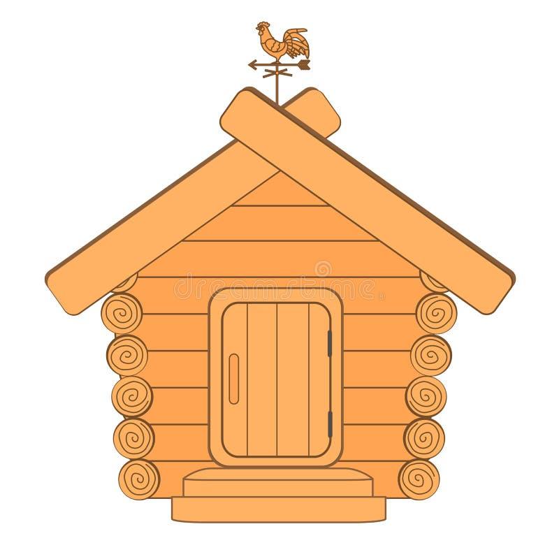 Una casa de madera con una paleta de tiempo ilustración del vector