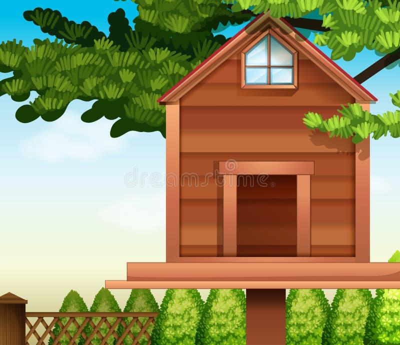 Una casa de madera del pájaro stock de ilustración