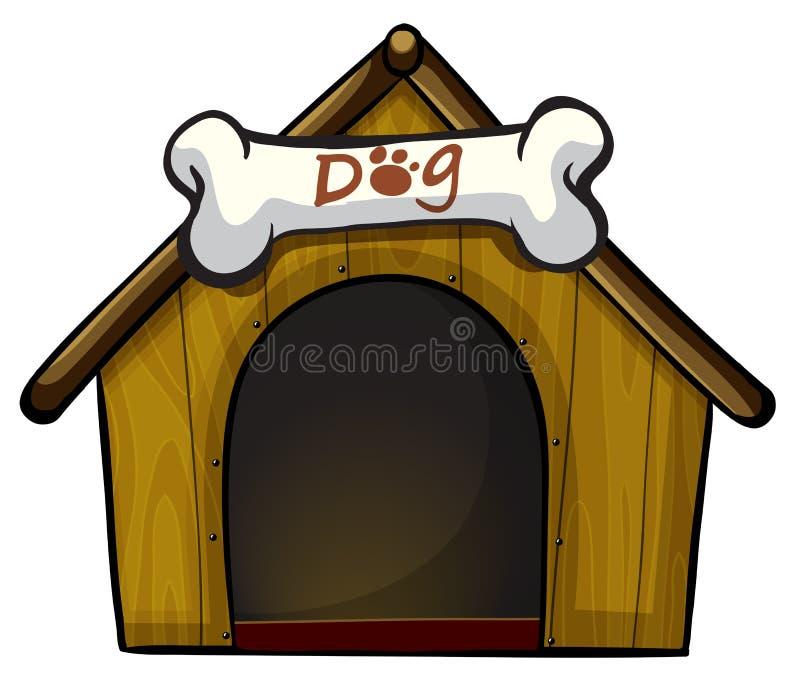 Una casa de perro con un hueso ilustración del vector
