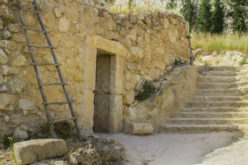 Una casa de piedra del estilo retro en Nazareth Village Israel fotografía de archivo libre de regalías