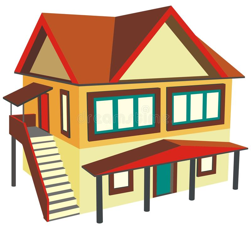 Una casa dei due piani con la scala esterna illustrazione for Piani casa dei caraibi