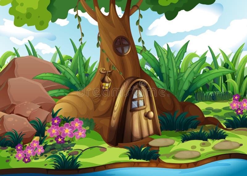 Una casa del árbol en el bosque stock de ilustración