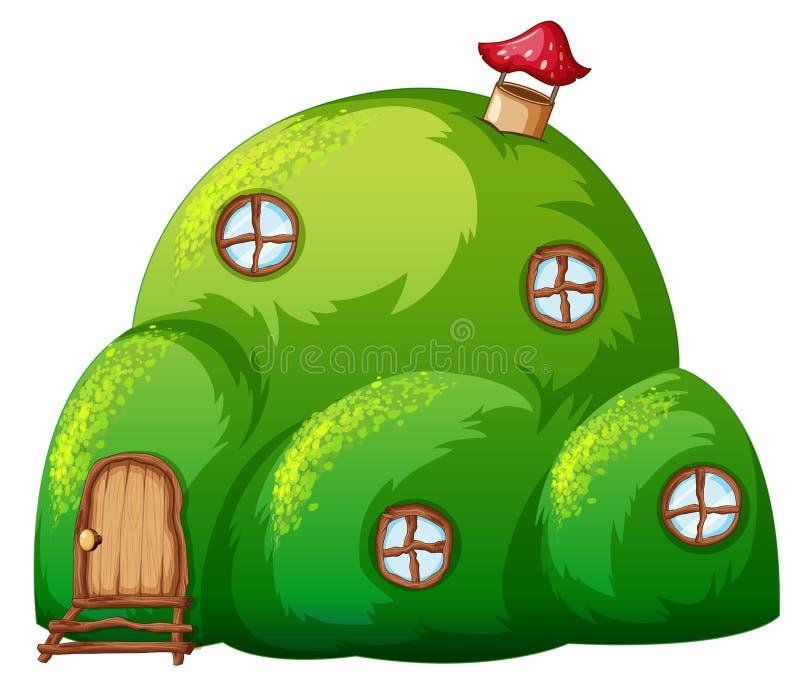 Una casa del cuento de hadas de la colina verde stock de ilustración