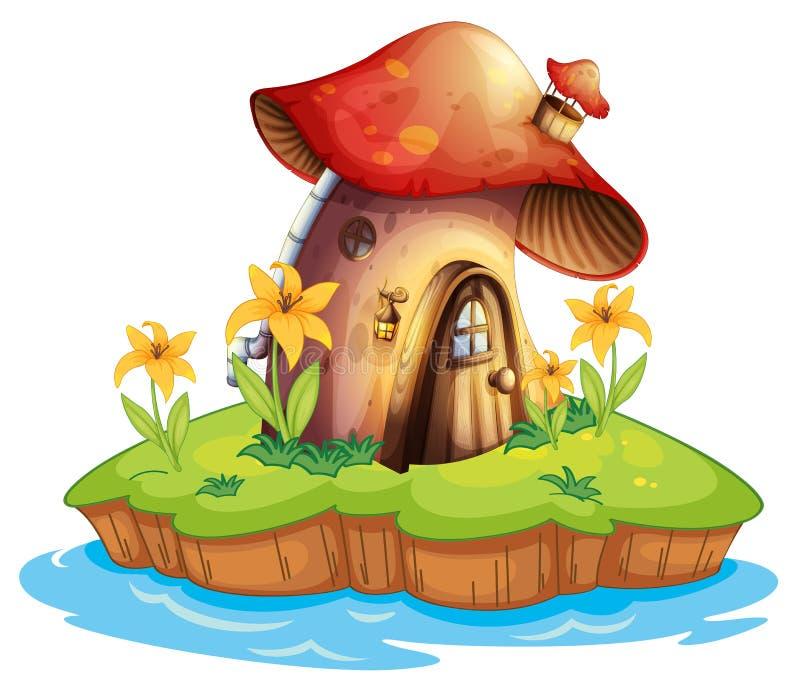 Una casa del fungo illustrazione di stock