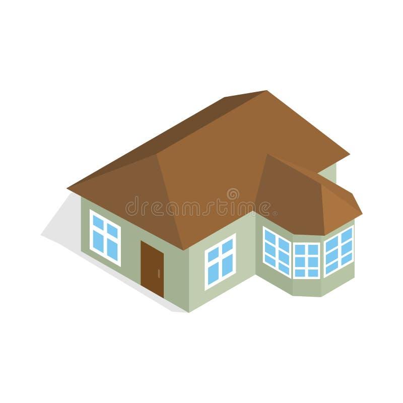 Una casa del piso con el icono del mirador ilustración del vector