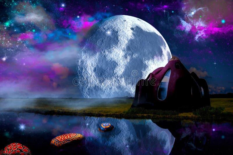 Una casa di fantasia sotto il cielo dell'aurora illustrazione di stock