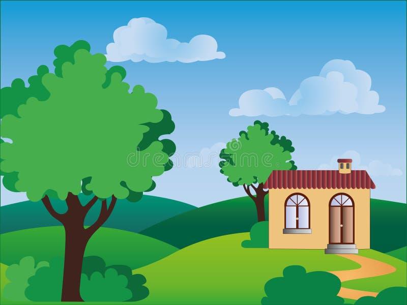 Una casa en el campo ilustración del vector
