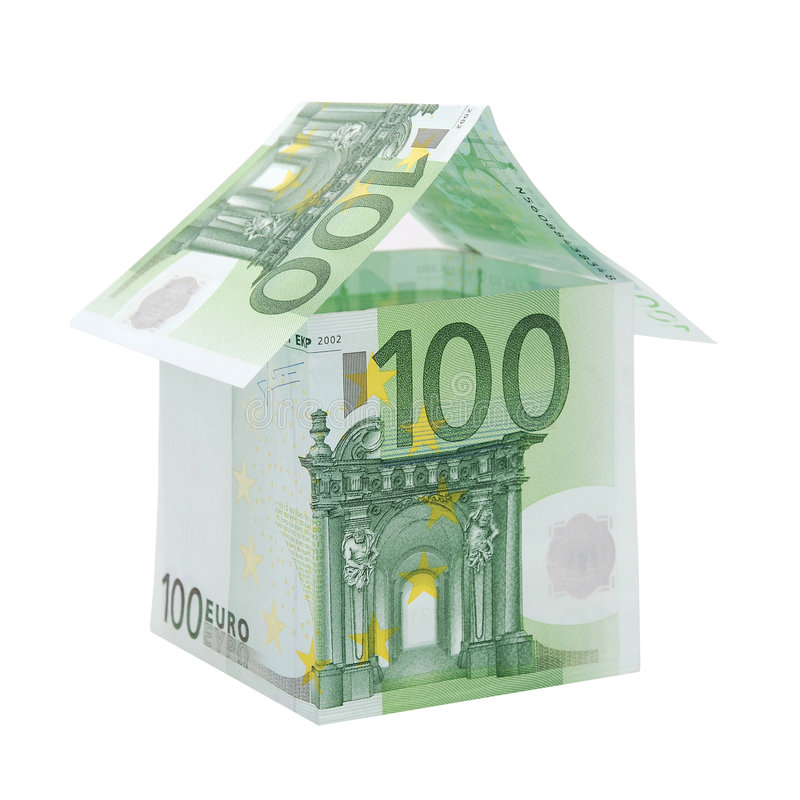 Una casa fatta dalle euro fatture fotografia stock libera da diritti