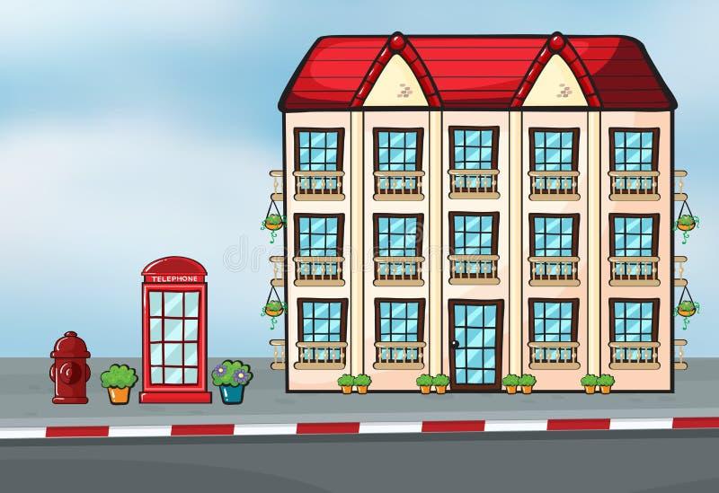 Una casa grande y un callbox stock de ilustración