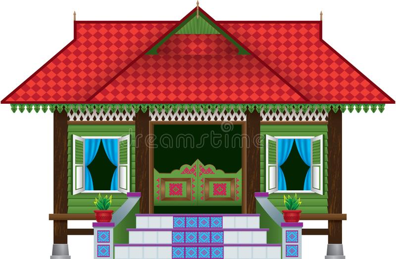 Una casa malaya de madera tradicional hermosa del pueblo del estilo stock de ilustración