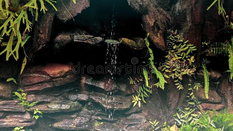 Una cascada miniatura que exhibe gotitas del agua en Bali, Indonesia imagen de archivo libre de regalías