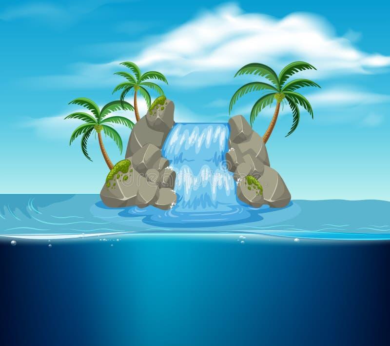 Una cascata sull'isola illustrazione di stock