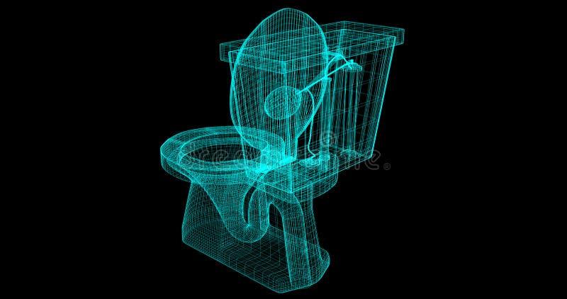 Una Cavo-struttura di una toilette, 3D reso con i miei propri progettazione royalty illustrazione gratis