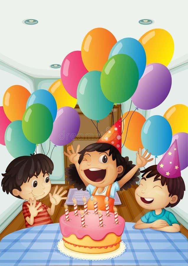 Una celebración del cumpleaños con los globos y la torta libre illustration