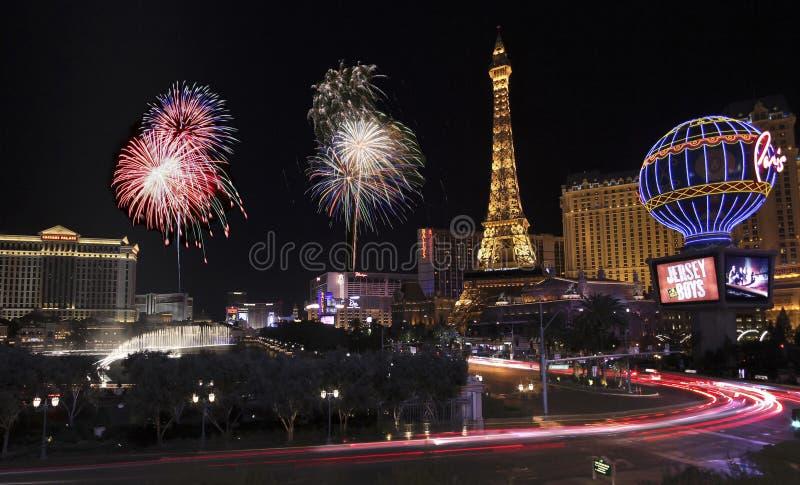 Una celebrazione a Bellagio e Las Vegas Blvd immagini stock