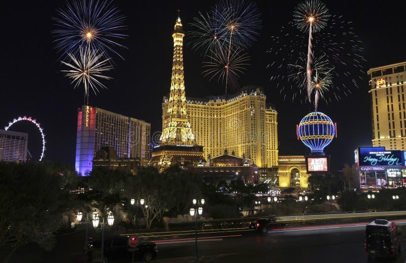 Una celebrazione a Bellagio e Las Vegas Blvd immagini stock libere da diritti