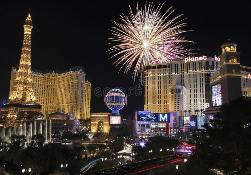 Una celebrazione a Bellagio e Las Vegas Blvd fotografie stock