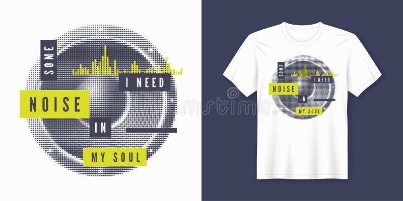 Una certa progettazione d'avanguardia della maglietta e dell'abito per la misurazione del rumore con l'altoparlante disegnato illustrazione vettoriale
