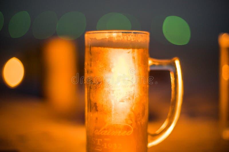 Una cerveza fría en una noche de verano caliente foto de archivo