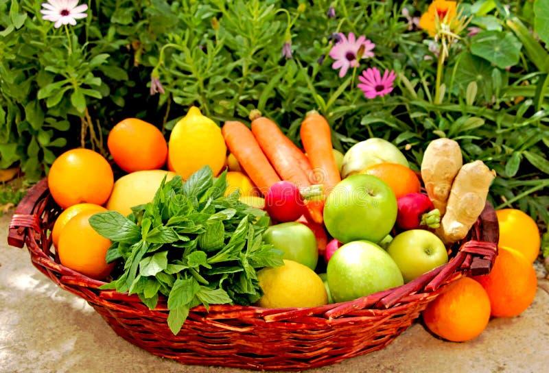 Una cesta de fruta y verdura fresca foto de archivo libre de regalías