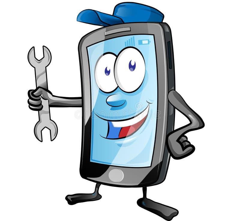 Una chiave mobile e dare della tenuta della mascotte del personaggio dei cartoni animati del app di servizio o del meccanico di r royalty illustrazione gratis