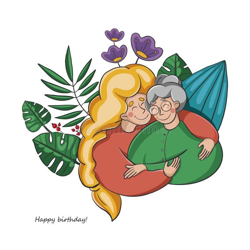 una chica joven abraza a su abuela la relación de generaciones hojas y flores tropicales en el fondo libre illustration