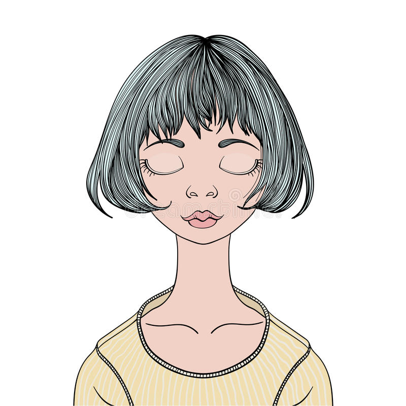 Una chica joven con los ojos cerrados Ejemplo del retrato del vector, aislado en blanco stock de ilustración