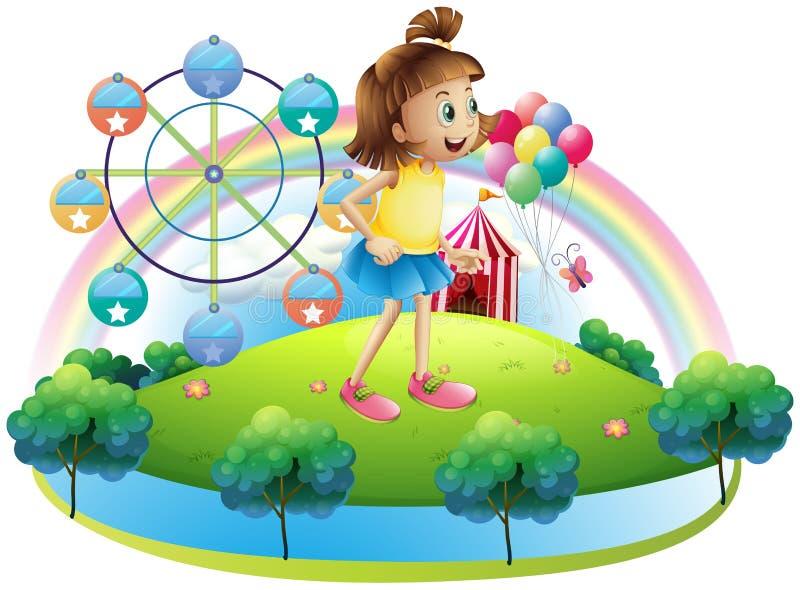 Una chica joven en el parque de atracciones stock de ilustración