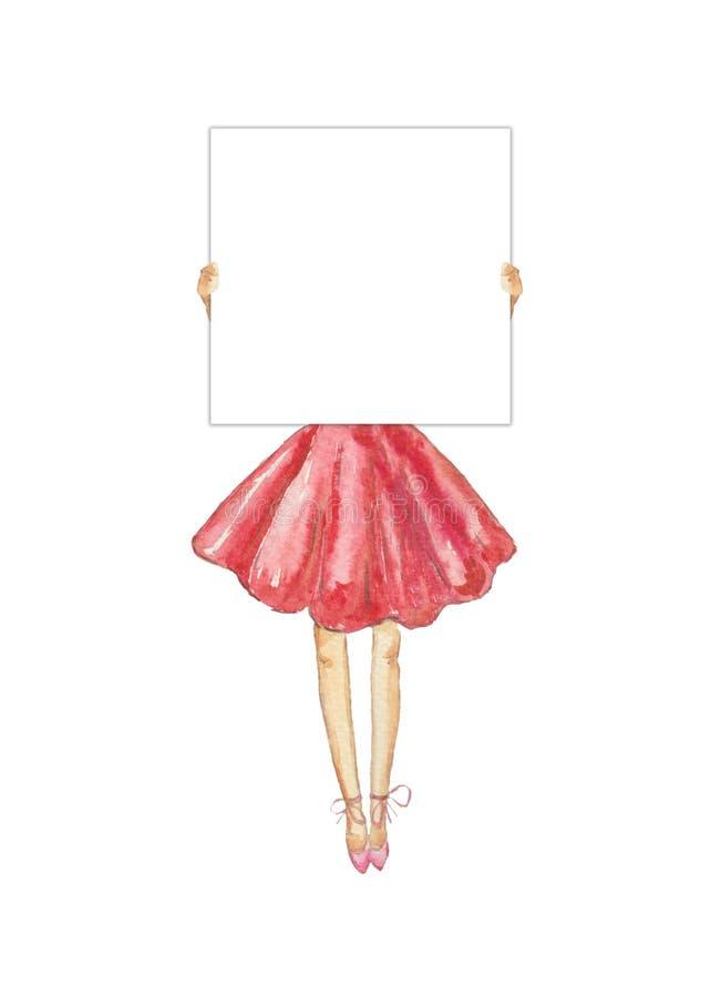 Una chica joven en un vestido enorme rosado es de protesta y que lleva a cabo de una muestra en blanco de la protesta Tarjeta bla libre illustration