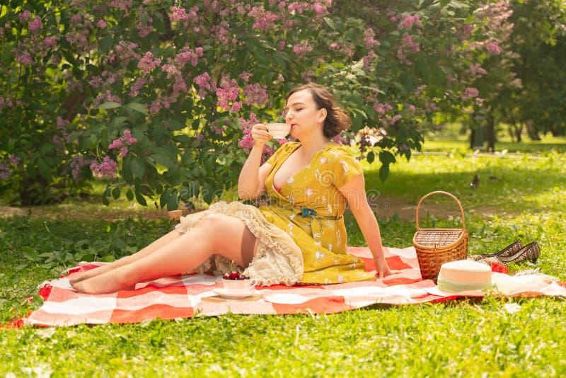 Una chica joven encantadora disfruta de un resto y de una comida campestre en la hierba verde del verano solamente la mujer tiene imagenes de archivo